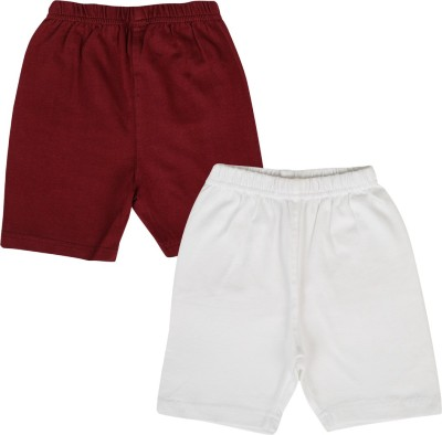 Lula Solid Girl's Maroon, White Cycling Shorts