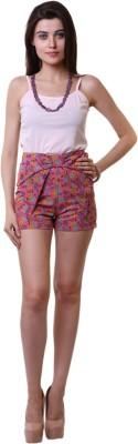 Belle Fille Floral Print Women,s Pink Basic Shorts