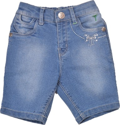 Palm Tree Solid Baby Girl's Blue Basic Shorts