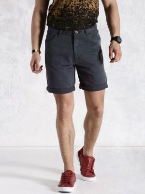 Roadster Solid Men's Blue Basic Shorts