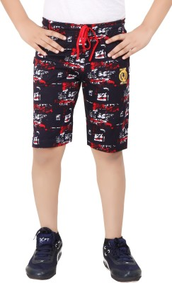 Red Ring Printed Boys Red Boxer Shorts