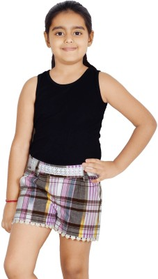 Naughty Ninos Checkered Girl's Multicolor Basic Shorts