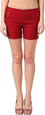 Pretty Angel Solid Women's Maroon Basic Shorts