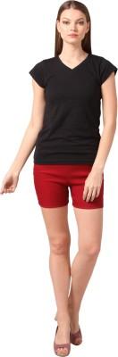 Vostro Moda Solid Women's Maroon Basic Shorts