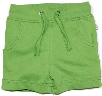 Solittle Solid Boy,s Green Basic Shorts