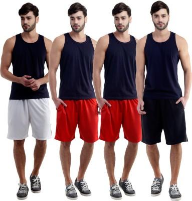 Dee Mannequin Self Design Men's White, Red, Red, Black Sports Shorts