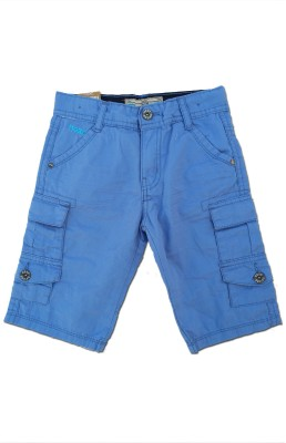 Snoby Solid Boy's Blue Basic Shorts