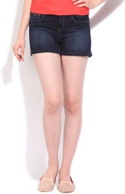 Flying Machine Solid Women's Blue Denim Shorts