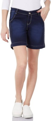 Monte Carlo Solid Women's Blue Denim Shorts
