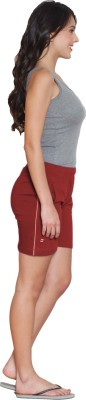 Sweet Dreams Solid Women's Red Sports Shorts