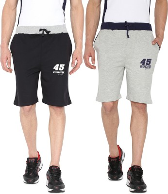 Rodid Solid Men's Black, Grey Sports Shorts