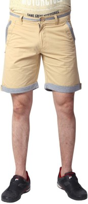 YOO Solid Men's Beige Basic Shorts