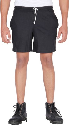 Frang Solid Men's Black Bermuda Shorts