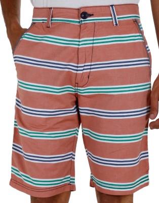Faraday Striped Men's Orange Basic Shorts