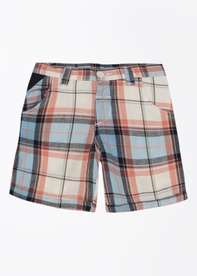 Cherokee Kids Checkered Boy's White, Blue, Pink Basic Shorts