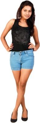 F FASHIONSTYLUS Solid Women,s Light Blue Denim Shorts