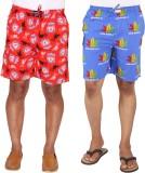 Ramarrow Printed Men's Red, Blue Bermuda...