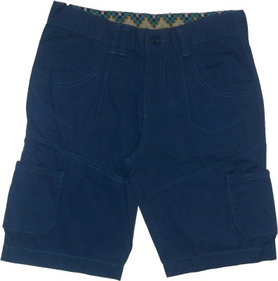 Red Rose Solid Boy's Blue Cargo Shorts
