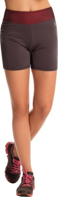 PrettySecrets Solid Women's Grey Sports Shorts, Running Shorts, Gym Shorts at flipkart