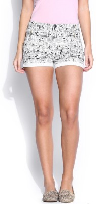 Kook N Keech Disney Printed Women's White Basic Shorts