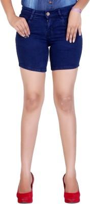 F Fashion Stylus Solid Women's Dark Blue Denim Shorts