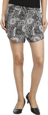 Miway Floral Print Women's Black, White Basic Shorts