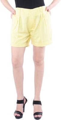 Trendy Divva Self Design Women's Yellow Night Shorts