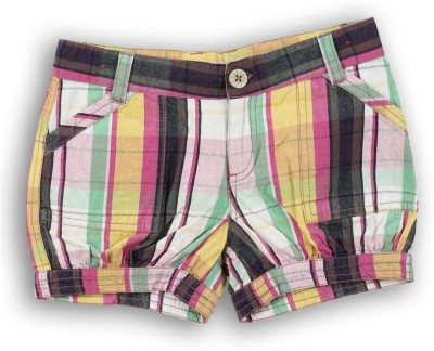 Lilliput Checkered Girl's Multicolor Baggy Shorts