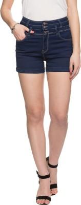 Tarama Solid Women's Dark Blue Denim Shorts