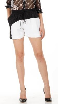 Fuziv Solid Women's White Basic Shorts