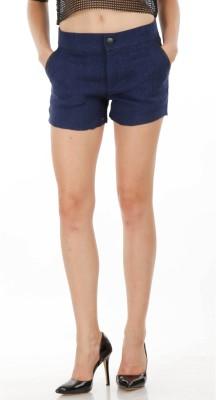 Fuziv Solid Women's Blue Basic Shorts