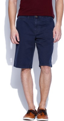 Noble Faith Solid Men's Dark Blue Basic Shorts