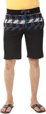 YOO Printed Men's Black Basic Shorts