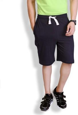 Lanosuc Solid Men's Black, Green Basic Shorts
