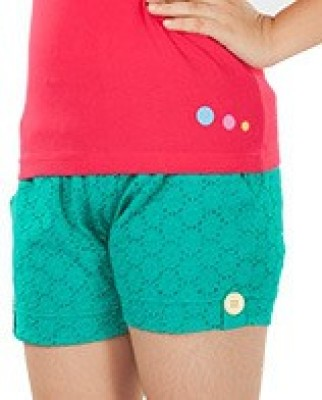 Ventra Embroidered Girl's Light Green Basic Shorts
