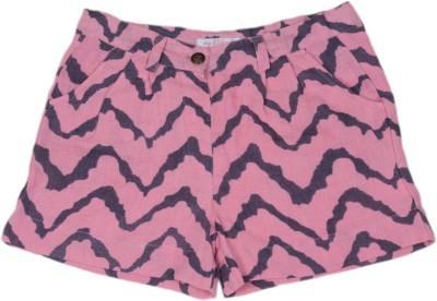 My Little Lambs Chevron Girl's Linen Pink Basic Shorts