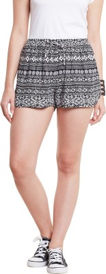 Wisstler Printed Women's Black Boxer Shorts