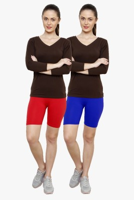 Softrose Solid Women's Red, Dark Blue Cycling Shorts