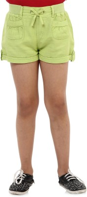 Oxolloxo Solid Girl's Green Basic Shorts