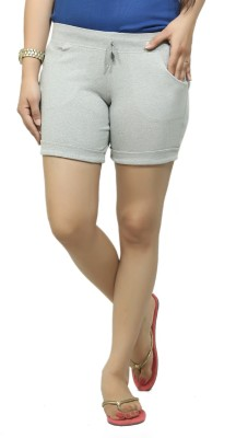 By The Way Solid Women's Grey Basic Shorts, Beach Shorts, Cycling Shorts, Night Shorts