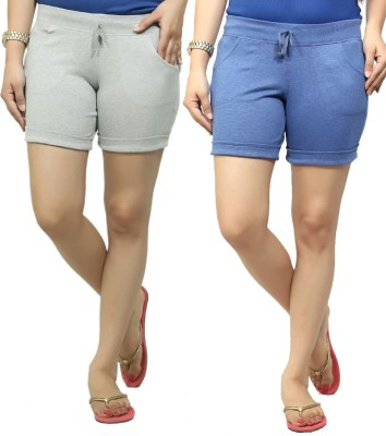 By The Way Solid Women's Grey, Blue Basic Shorts, Beach Shorts, Cycling Shorts, Night Shorts