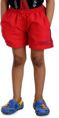Dazzgear Solid Girl's Red Basic Shorts