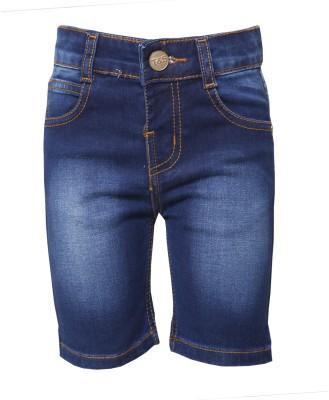 Tales & Stories Solid Boy,s Denim Blue Bermuda Shorts