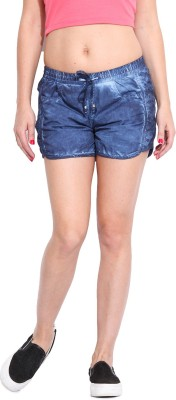 Ceylin Solid Women's Blue Denim Shorts