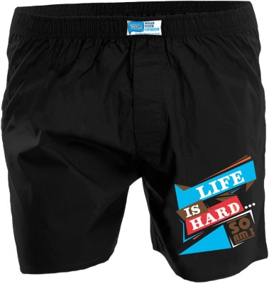 Wear Your Opinion Printed Men's Reversible Black Boxer Shorts
