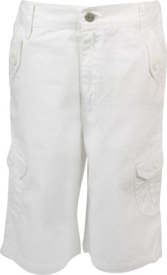 Joshua Tree Solid Boy's White Cargo Shorts