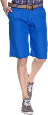 Silver Streak Solid Men,s Blue Basic Shorts