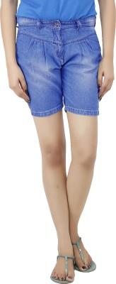 Uber Urban Solid Women's Light Blue Basic Shorts at flipkart