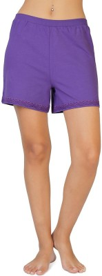 Coucou by Zivame Solid Women's Reversible Purple Boxer Shorts