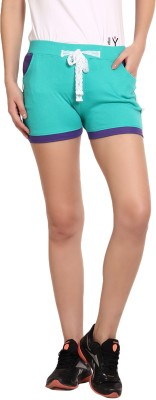 Yogaandsportswear Solid Women's Light Green Basic Shorts
